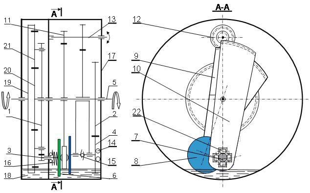 Рис. 9. Схема бесступенчатой планетарной передачи с замкнутым дифференциалом.